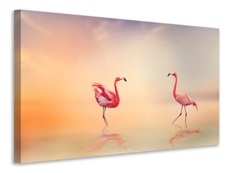 Canvas print Romantic Flamingos