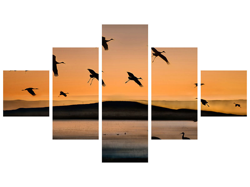 5 Piece Canvas Print Fly-In At Sunset