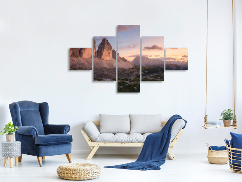 5 Piece Canvas Print An Evening In The Dolomites