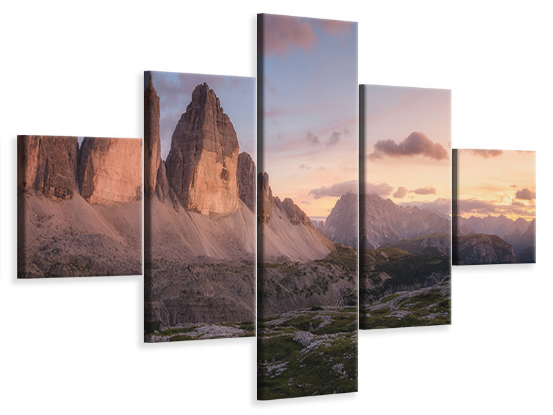 Stampa su tela 5 pezzi An Evening In The Dolomites