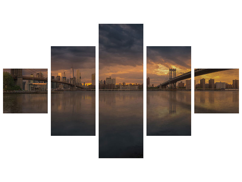 5 Piece Canvas Print Between Bridges
