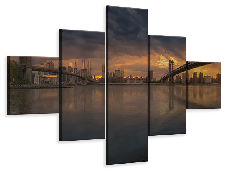 Tableau sur Toile en 5 parties Between Bridges