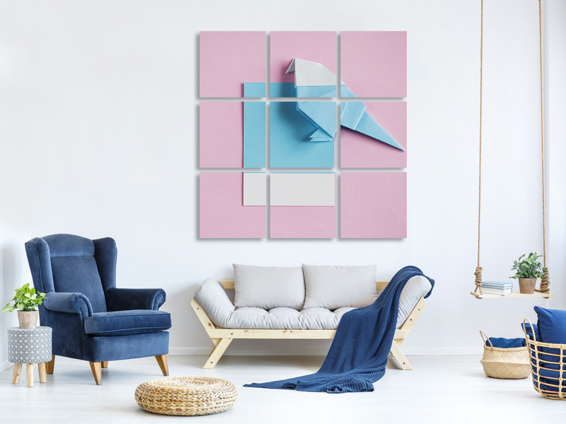 9 Piece Canvas Print Origami bird
