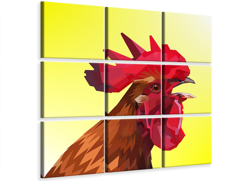 9 Piece Canvas Print The rooster